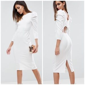 NWT ASOS Puff Sleeve Cutout Back Dress